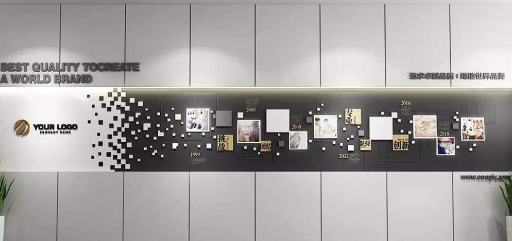 简约企业公司文化墙形象墙展板图片